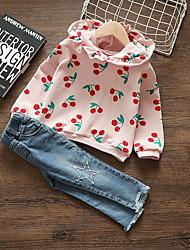 Недорогие -малыш Девочки Классический Фрукты Длинный рукав Обычный Набор одежды Розовый