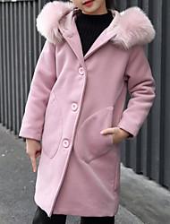 abordables -Enfants Fille Chic de Rue Couleur Pleine Manches Longues Coton Veste & Manteau Rose Claire