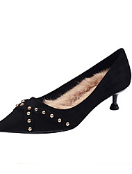 cheap -Women's Heels Kitten Heel Pointed Toe Rivet PU Sweet / Minimalism Fall & Winter Black / Purple