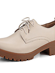 cheap -Women's Heels Chunky Heel Round Toe Cowhide Classic / Vintage Fall / Spring & Summer Black / Brown / Beige