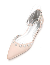 cheap -Women's Wedding Shoes Flat Heel Pointed Toe Rhinestone / Beading Satin Classic / Sweet Spring & Summer / Fall & Winter White / Purple / Champagne / Party & Evening