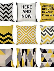 cheap -9 pcs Linen Pillow Cover, Geometric Pattern Geometic Fashion Modern Throw Pillow