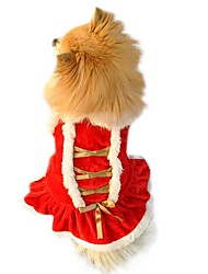 cheap -Dog Dress Christmas Cosplay Christmas Winter Dog Clothes Puppy Clothes Dog Outfits Red Costume for Girl and Boy Dog Flannel Fabric Cotton XS S M L