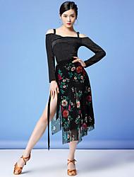 cheap -Latin Dance Skirts Glitter Sash / Ribbon Pattern / Print Women's Training Performance Long Sleeve Natural Mesh Milk Fiber