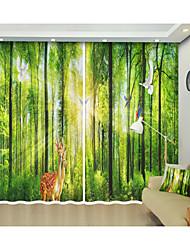 abordables -Creative impression numérique de forêt sika cerf 3d rideau rideau d'ombrage haute précision tissu de soie noire de haute qualité première classe rideau d'ombrage