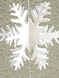 cheap -12pcs 3D Snowflake Strings Cardboard Paper Hanging Decorations for Wedding Christmas