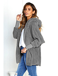 cheap -Women's Daily / Going out Active / Basic Spring &  Fall Regular Jacket, Solid Colored Hooded Long Sleeve Polyester Wine / Royal Blue / Brown
