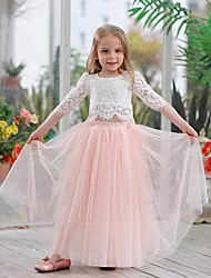 cheap -Princess Dress Flower Girl Dress Girls' Movie Cosplay A-Line Slip Cosplay Vacation Dress White / Pink Dress Halloween Carnival Masquerade Tulle Lace Polyester