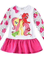 cheap -Kids Girls' Active Horse Cartoon Print Long Sleeve Mini Dress White / Cotton
