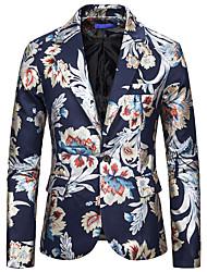 cheap -Men's Blazer, Floral Notch Lapel Rayon / Polyester / Spandex Black / White / Navy Blue