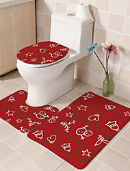 cheap -3 Piece Bathroom Bath Mat Rug Set with Toilet Lid Cover/Red Modern Bathroom Mat Pvc (Polyvinyl Chloride) Novel And Cool