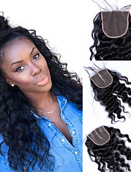cheap -Dolago Brazilian Hair 4x4 Closure Wavy Free Part / Middle Part / 3 Part French Lace Remy Human Hair / Human Hair Women's with Baby Hair / 100% Hand Tied / Lace Closure
