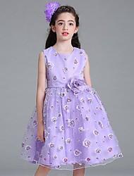 cheap -Kids Girls' Jacquard Lace Sleeveless Dress White