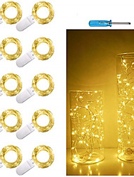 cheap -10pcs 1m 10 LED Fairy Lights CR2032 Battery Operated LED Copper Wire String Lights For Xmas Garland Party Wedding Home Decoration