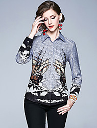 cheap -Women's Work Weekend Vintage / Elegant Shirt - Graphic Print Shirt Collar Blue