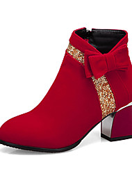 cheap -Women's Boots Chunky Heel Round Toe PU Booties / Ankle Boots Casual / British Fall & Winter Black / Red / Party & Evening