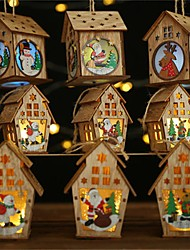 cheap -Navidad 2019 New Year Christmas Diy Luminous Cabin Innovative Christmas Snow House With Light Colorful Wooden Cottage Decoration