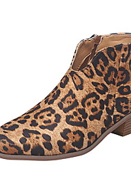 cheap -Women's Boots Print Shoes Chunky Heel Round Toe Canvas Booties / Ankle Boots Fall & Winter Black / Almond / Leopard