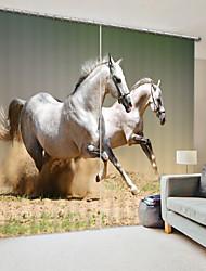 cheap -White War Horse Digital Printing 3D Curtain Shading Curtain High Precision Black Silk FabricHigh Quality Curtain