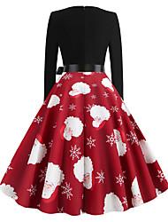 cheap -Women's Swing Dress - Long Sleeve Geometric Basic Christmas Party Daily Wear Red S M L XL XXL