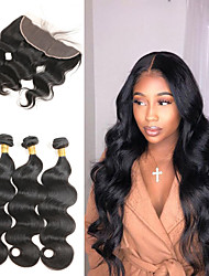 cheap -Brazilian Body Wave 3 Bundles with Frontal Human Hair Weave Bundles 13x4 Ear to Ear Lace Frontal with Bundles Free Part