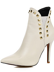 cheap -Women's Boots Stiletto Heel Pointed Toe Rivet PU Booties / Ankle Boots Fall & Winter Black / White / Burgundy / Party & Evening