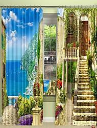 abordables -petite ville sur la mer impression numérique 3d rideau rideau d'ombrage haute précision noir tissu de soie rideau de haute qualité