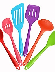 cheap -Silicone Spatula Set - 6 Piece Heat Resistant Rubber Spatula Spoon Kitchen Utensil One Piece Design, Non-Stick for Cooking, Baking and Mixing Cooking Tools