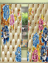 cheap -Blue Peony Environmental Protection Digital Printing on Soft Bag Style 3D Curtain Shading Curtain High Precision Black Silk Fabric High Quality Curtain