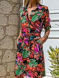 cheap -Women's Orange Green Dress A Line Geometric V Neck Lace up Patchwork Print S M