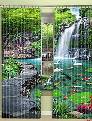 cheap -Forest Landscape Digital Printing 3D Curtain Shading Curtain High Precision Black Silk Fabric High Quality Curtain