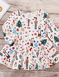 cheap -Baby Girls' Active Print / Christmas Long Sleeve Dress Beige / Toddler