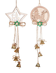 cheap -4pcs Snowflake Rustic Wooden Ornaments Merry Christmas Tree Hanging  Decorations For Home