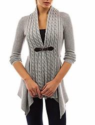 abordables -Femme Couleur Pleine Manches Longues Cardigan Pull pull, Col en V Noir / Violet / Rose Claire S / M / L