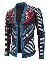 abordables -Homme Quotidien / Sortie Automne hiver Normal Veste, Géométrique Sans col Manches Longues Polyester Noir