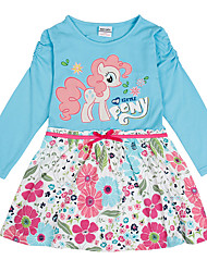 cheap -Kids Girls' Active Blue & White Horse Cartoon Print Long Sleeve Above Knee Dress Blue / Cotton