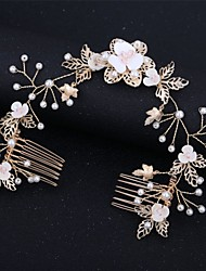 cheap -Alloy Hair Combs / Hair Accessory with Crystal / Rhinestone / Pearls / Flower 1 Piece Wedding Headpiece