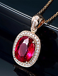 cheap -Women's Garnet Pendant Necklace Pear Cut Drop Heart Classic Platinum Plated Rose Gold 45 cm Necklace Jewelry 1pc For Daily