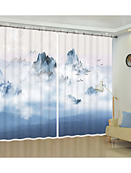 cheap -Smokey Blue Ink Painting Digital Printing 3D Curtain Shade Curtain High Precision Black Silk Fabric High Quality First Class Living Room Curtain