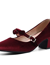 cheap -Women's Heels Chunky Heel Square Toe Bowknot / Buckle Synthetics Spring &  Fall Black / Wine / Pink