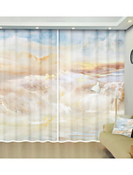 cheap -Marble Style Landscape Environmental Protection Digital Printing 3D Curtain Shade Curtain High Precision Black Silk Fabric High Quality First-class Shade Bedroom Living Room Curtain