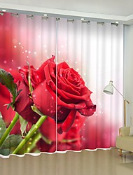 cheap -Bright Red Rose Digital Printing 3D Curtain Shading Curtain High Precision Black Silk Fabric High Quality Curtain