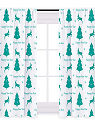 cheap -Curtain High Blackout Christmas Tree Deer Printed Home Bedroom Customisable