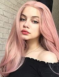 cheap -Synthetic Lace Front Wig Natural Wave Middle Part Lace Front Wig Pink Long Rose Gold Synthetic Hair 18-24 inch Women's Heat Resistant Party Synthetic Pink