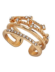 cheap -Women's Ring Open Ring 1pc Gold Imitation Diamond Alloy Classic Baroque Trendy Graduation Engagement Jewelry Hollow Out Music Notes Happy Cute Cool Lovely