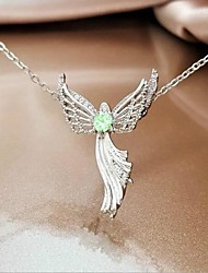 cheap -Women's Cubic Zirconia Pendant Necklace Geometrical Angel Wings Fashion Copper White Purple Light Green Red Blue 50 cm Necklace Jewelry 1pc For Daily Festival