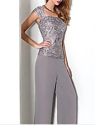 cheap -Two Piece / Pantsuit / Jumpsuit Square Neck Floor Length Chiffon 3/4 Length Sleeve Wrap Included Mother of the Bride Dress with Appliques / Ruching 2020
