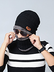 cheap -Men's Unisex Work Basic Acrylic Knitwear Ski Hat-Solid Colored Fall Winter Black Wine Brown