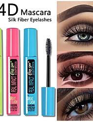 cheap -Mascara Eye Cosmetics Silicone Brush Waterproof Long Lasting Black Mascara 4D Silk Fiber Quick Dry Eyelash Extension