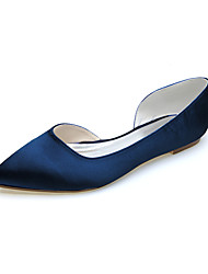cheap -Women's Wedding Shoes Flat Heel Pointed Toe Satin Minimalism Fall / Spring & Summer Black / White / Purple / Party & Evening
